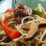 recette Lo Mein Nouilles sautées légumes boulettes