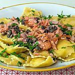 recette Raviolis au fromage, saumon et câpres