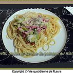 recette Spaghetti, bacon et fondue de poireaux au maroilles