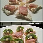 recette Toasts de filet de truite fumée, fromage et citron ou kiwi