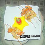 recette Brochettes de crevettes-ananas-carottes/riz safrané