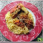 recette Cari de poulet, curcuma - gingembre, sur un lit de fettuccini
