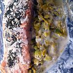 recette Papillote de saumon sur lit de poireau (compatible dukan)