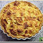 recette Quiche aux raviolinis garnis de jambon, sur une pâte brisée
