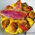 recette Risotto safrané ,Saint-jacques poêlées et filet de rouget