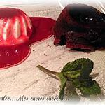 recette PANNA COTTA - COULIS FRAMBOISE / FONDANT CHOCOLAT