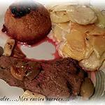 recette GIGUE DE CHEVREUIL AU FOUR ( CUISSE ) & POMMES AUX AIRELLES - GRATIN DAUPHINOIS A L'ANCIENNE