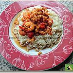 recette Crevettes pimentées sur un lit de riz parfumé