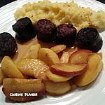 recette Boudin noir, pommes caramélisées et purée de Pdt