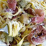recette Tagliatelles à l'ail aux cœurs d'artichaut et jambon Speck