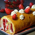 recette Roulé aux fraises et à la crème fouettée