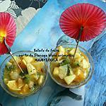 recette Salade de fruits sur lit de fromage blanc aromatisé