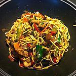 recette Wok poulet, légumes, nouilles