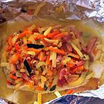 recette Papillotes de loup de mer et julienne de légumes  (compatible Dukan)