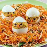 recette Salade de carottes au céleri et oeufs farcis aux sardines