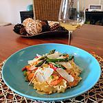 recette Pâtes aux crevettes et aux asperges