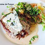 recette Steak parfumé au bleu de chèvre et cuit à basse température