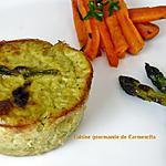 recette Petits flans d'asperges vertes au pesto ail des ours
