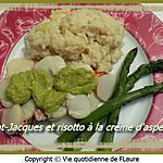 recette Saint-Jacques et risotto à la crème d'asperges
