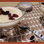 recette Riz au lait aux raisins et Rhum