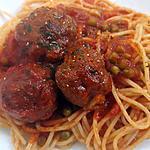 """recette """"Spag"""" et """"guez"""" en sauce tomate et petits pois"""