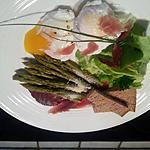 recette Oeuf poché et ses mouillettes, asperges vertes et noix de jambon d'Ardenne