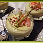 recette Verrines de mousse d'asperge à la truite fumée