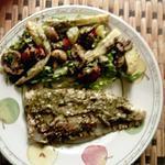 recette limande sole au pesto ail triquette,  champignons    .