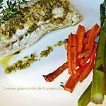 recette Dos de cabillaud au pesto ail des ours et ses légumes grillés