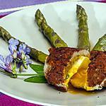 recette Oeuf mollet pané à la charcutière et asperges vertes