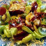 recette assiette pomme  camenbert,  champignon,  kiwi,jambon fumé