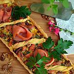 recette Tarte à la truite fumée, au poireau et aux noix
