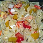 recette Salade de farfalle fraîche ( écrevisses et surumi )