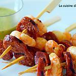 recette Brochette de scampis et chorizo à la sauce verte