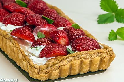 Photo de recette de tarte aux fraises, chantilly, facile, rapide, léger de Kilomètre-0, blog de cuisine réalisée à partir de produits locaux et issus de circuits courts