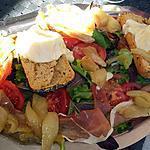 recette Salade jambon cru, poire,chèvre et miel chaud