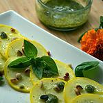 recette Carpaccio de courgettes au pesto basilic orties