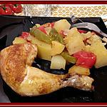 recette Cuisses de Poulet rôti à l'huile d'argan et aux petits légumes