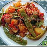 recette Pommes de terre, haricots plats et tomates avec un peu de piment, de paprika, d'ail et d'oignon
