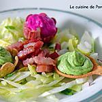 recette Crème de petits pois et de betterave rouge sur leur lit de salade
