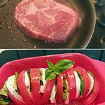 recette Viande de boeuf irlandaise maturée, tomate mozzarella basilic