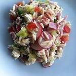 recette Salade langues d'oiseaux, jambon fumé et mozzarella