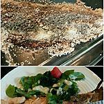 recette Truite entière en croûte de sel, thym-estragon et salade de pourpier