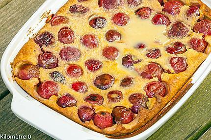 Photo de recette de clafoutis, cerises de Kilomètre-0, blog de cuisine réalisée à partir de produits locaux et issus de circuits courts