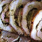 recette Rôti de porc roulé au pesto et mozzarella