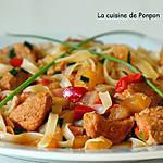 recette Sauté de porc aux radis accompagné de nouilles de riz