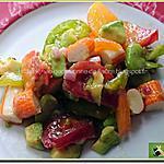 recette Salade de fèves, tomates colorées et bâtons de surimi
