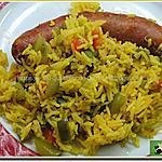 recette Riz aux poivrons verts, rouges et chorizo à griller
