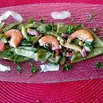 recette assiette  crevettes , mange tout, ,  lamelles de gingembre    pour sushi,
