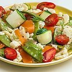 recette Salade de chou fleur, truite, concombre, tomate et aneth